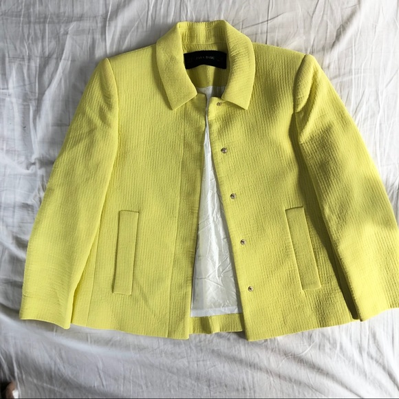 ZARA Yellow Crepe Jacket with 3/4 Length Sleeves